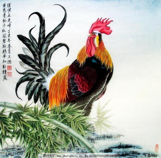 雄鸡 画 中国画 水墨画 动物画 现代国画 动物 鸡 美丽羽毛 石头 竹子