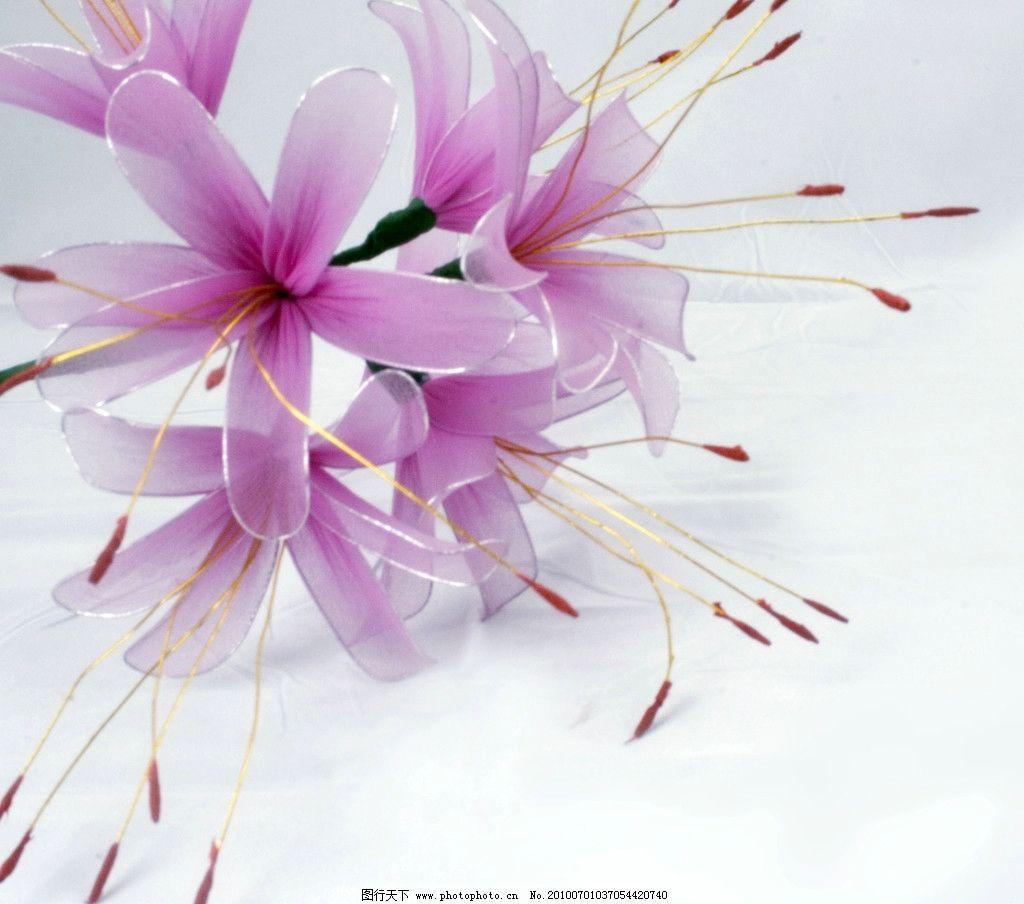 丝网花 手工制作 百合 粉红色的花 丝质 生活素材 摄影