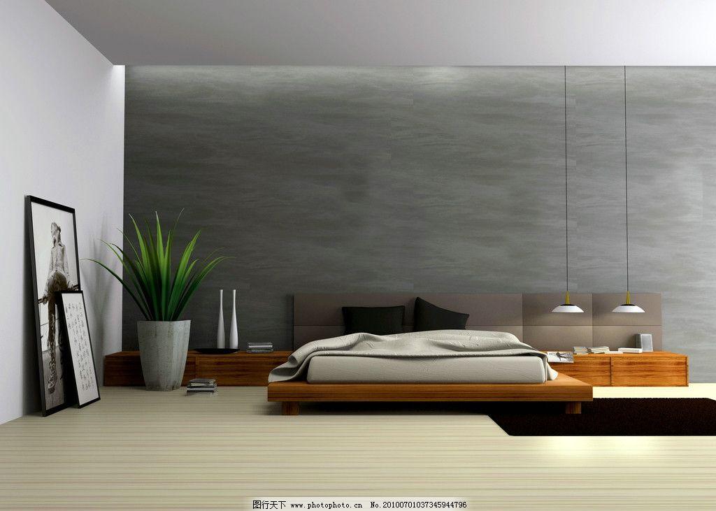 室内陈设高清图片,客厅 壁画 植物 瓶子 床 毯子-图行
