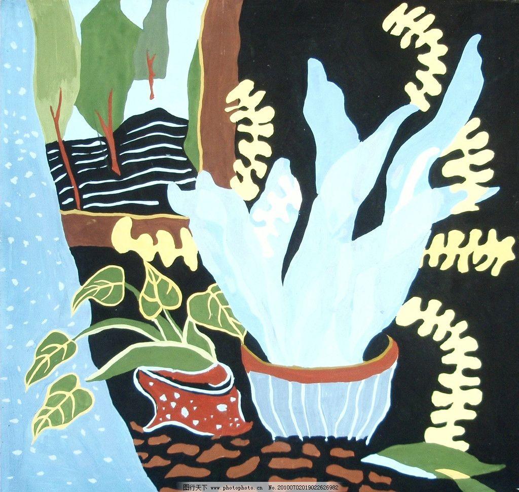 装饰画 美术 绘画 工笔画 色彩画 动物 植物 室内植物 树木 叶子 盆子