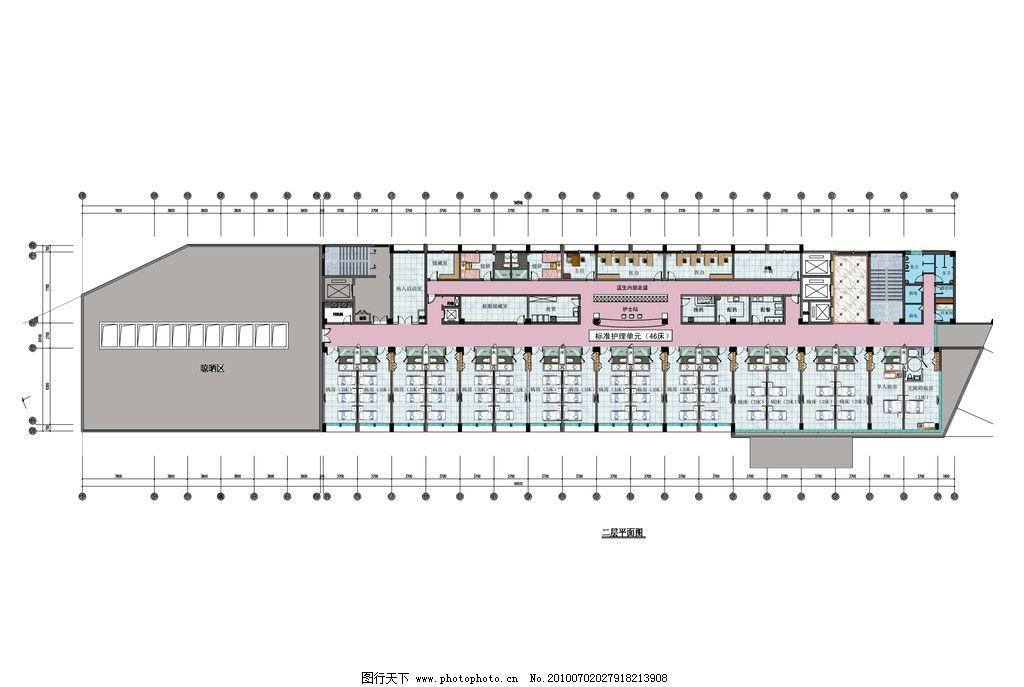 医院室内彩色平面方案 医院 室内 办公桌 地砖 平面图块 彩色 床