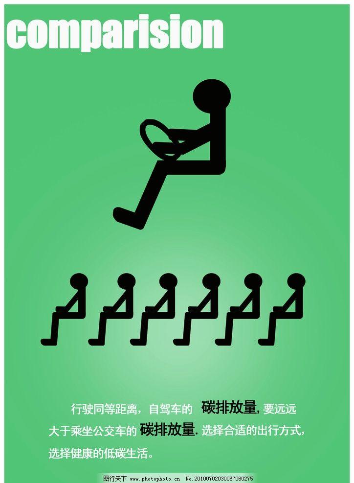 绿色出行低碳海报设计图片