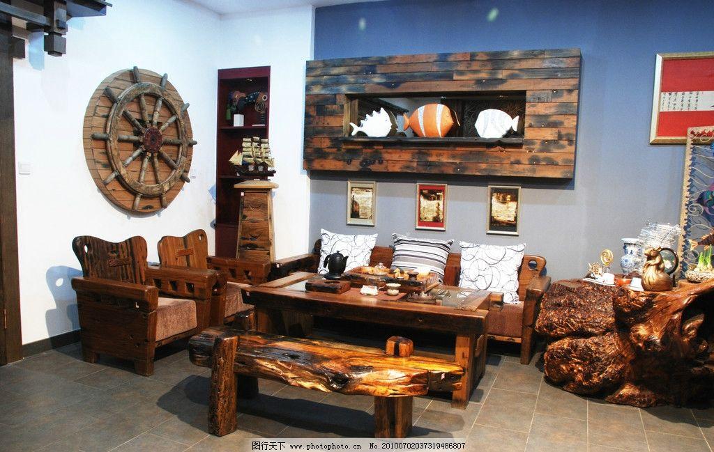 实木茶具石桌子客厅家居图片