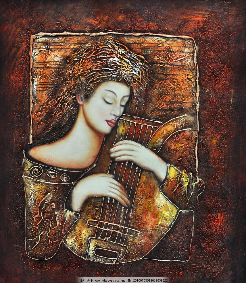 油画 抽象 装饰画 高清 人物 重彩画 无框画 印象 线条 美女