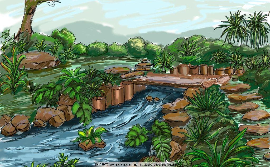 风景手绘 手绘 风景 插画 景观设计 环境设计 源文件 300dpi psd