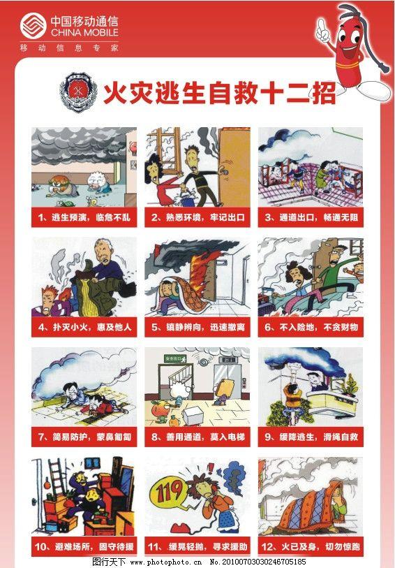 火灾 逃生 自救 十二招 消防 安全 展板模板 广告设计 矢量 cdr