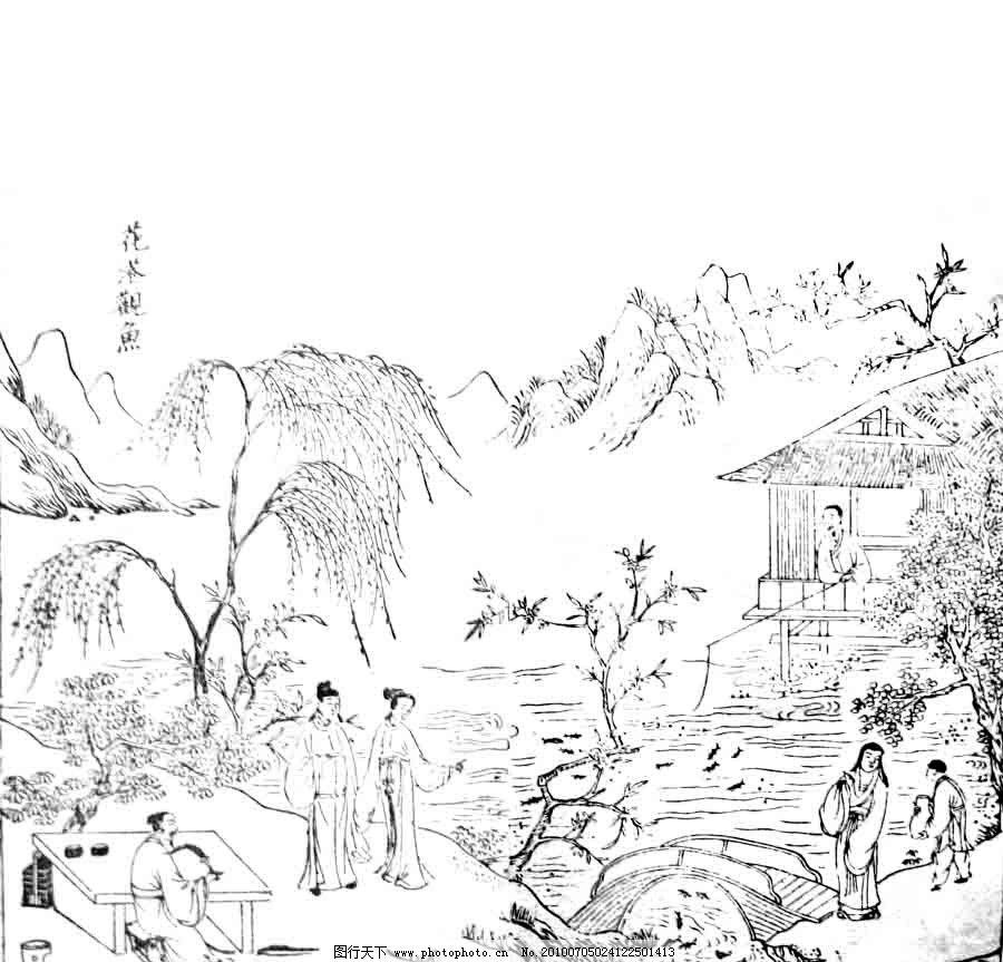 花港观鱼 西湖十景 杭州名胜 柳树 鱼 风景 风景名胜 自然景观 矢量