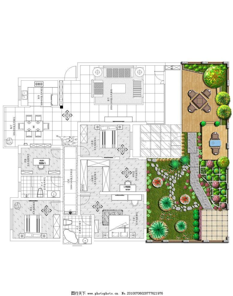 园林室外设计 别墅外围景观设计 木桌椅 木平台 景墙 踏步 源文件