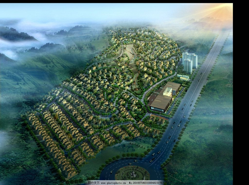 鸟瞰效果图 园林景观设计效果图psd素材