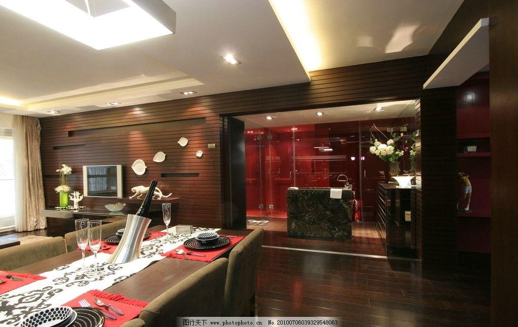 室内装修 现代简约 餐桌 工艺品 沙发 台灯      室内摄影 建筑园林