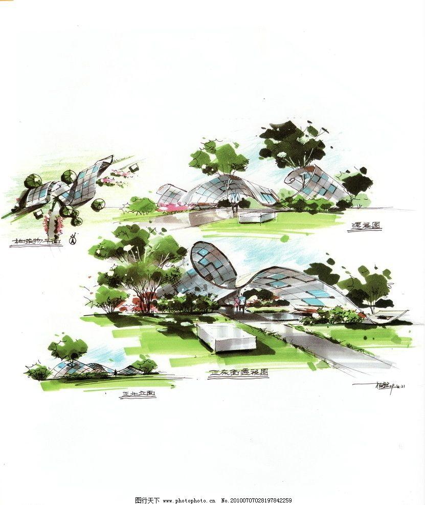 景观手绘 自然景观 景观 园林景观 景观设计 小区景观 建筑景观 景观