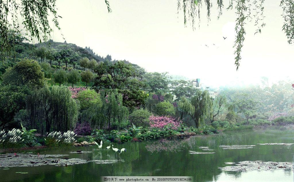生態湖岸亮麗風景廣告設計素材 湖水 花草 樹木 涼亭 荷花 飛鳥
