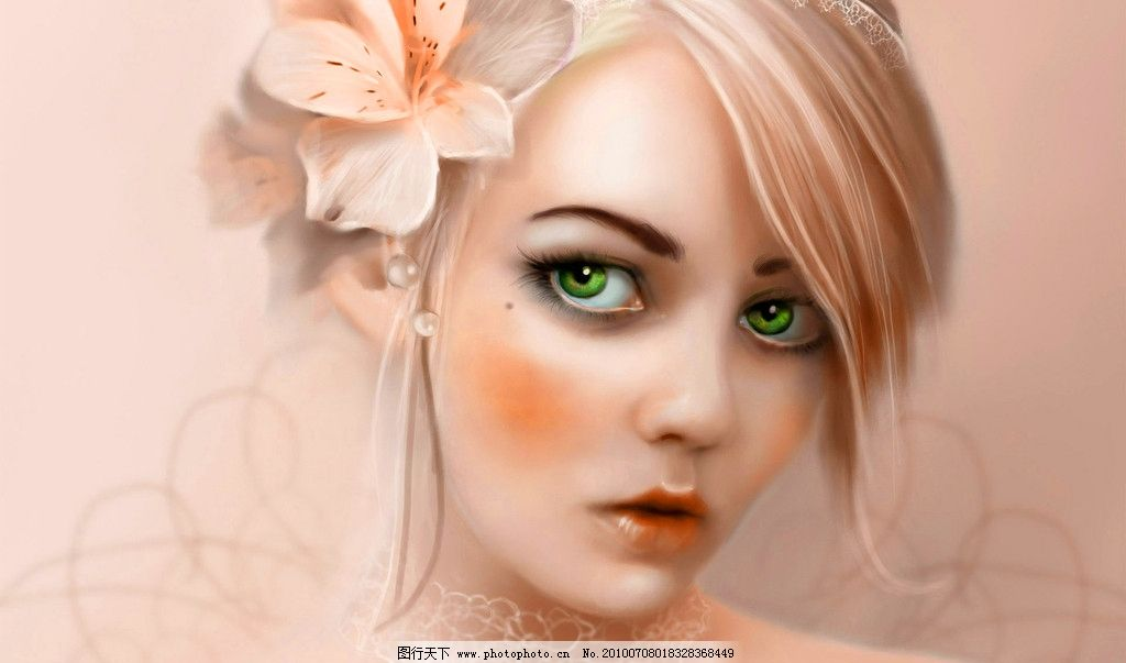 绿眼睛女孩图片