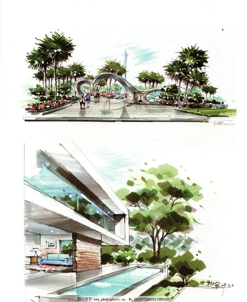 园林景观效果图 城市景观 手绘景观 景观平面图 园林景观设计 公园
