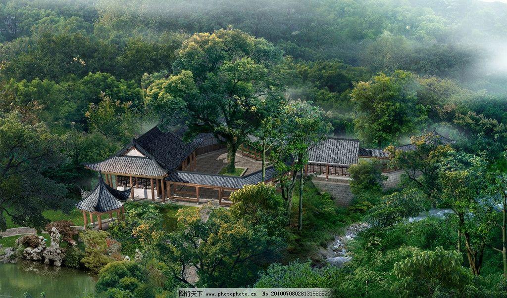 优雅的深山老林 宁静的寺庙图片图片