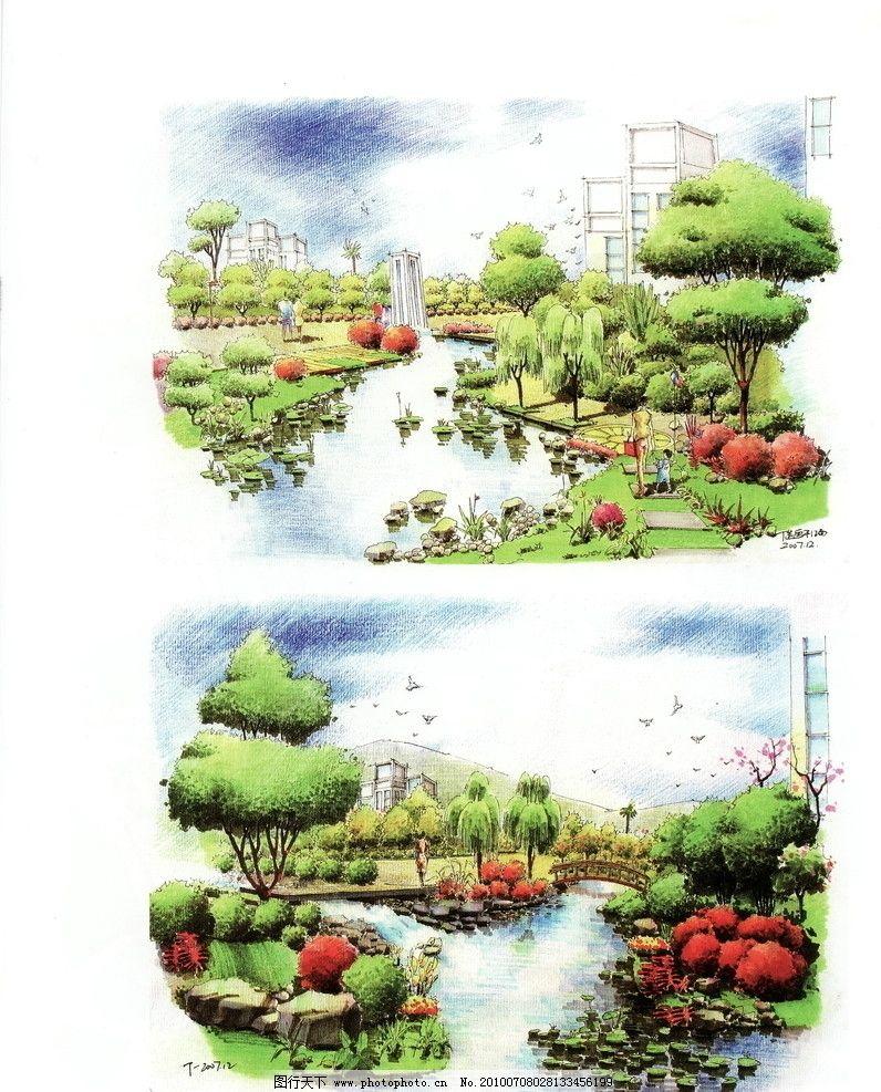 设计图库 环境设计 景观设计  手绘景观 景观手绘 自然景观 景观 园林