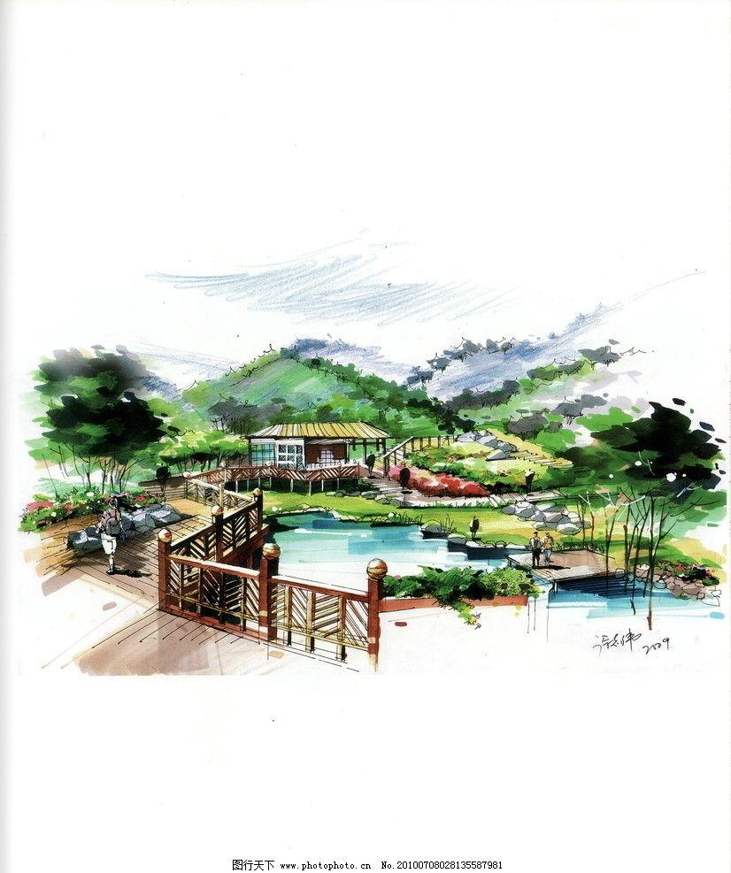 景观效果图 景观园林设计 人文景观 园林景观效果图 城市景观 手绘