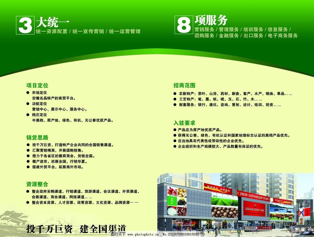 招商画册 农特产品 绿色 简约 设计模版 宣传单页 psd分层素材 源文件图片