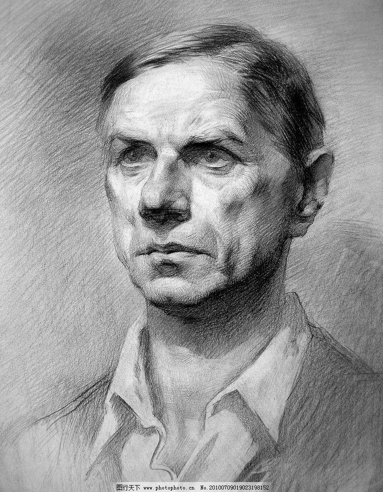 俄罗斯列宾美术学院男中年素描头像图片