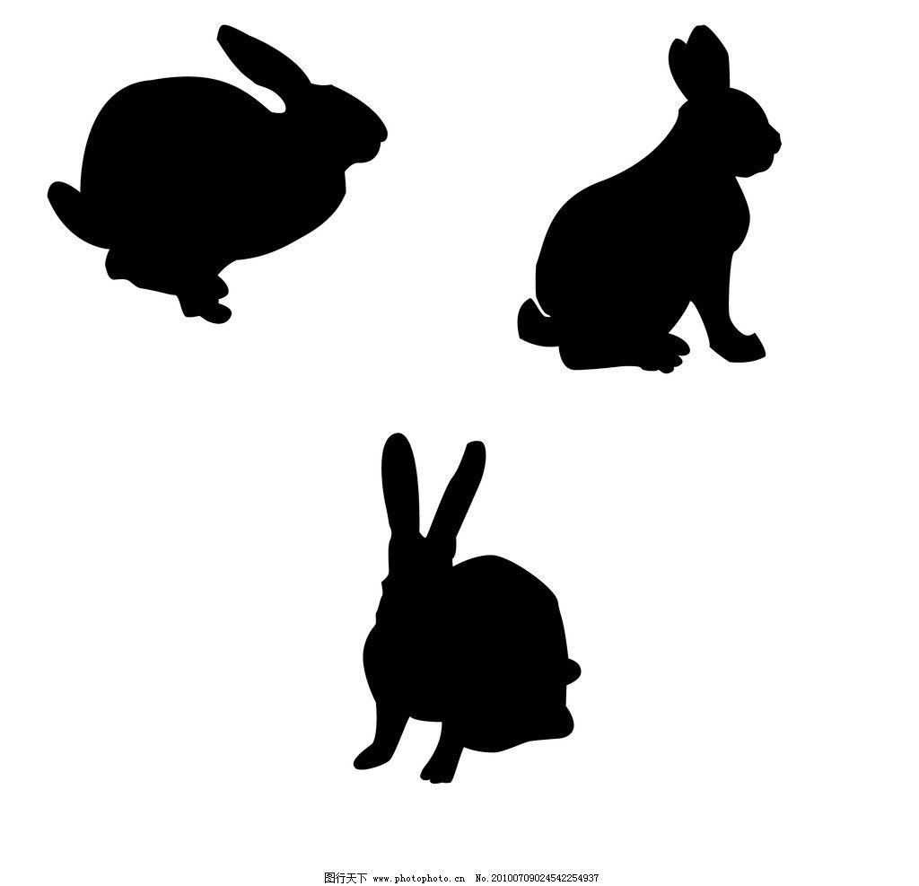 兔剪影 兔 黑色 剪影 矢量 白兔 奔跑的兔 兔子 矢量的兔 家禽家畜