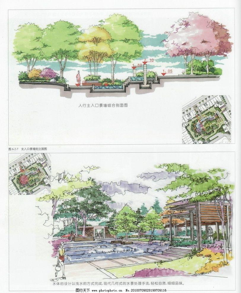 景观园林设计 人文景观 园林景观效果图 城市景观 手绘景观 景观平面