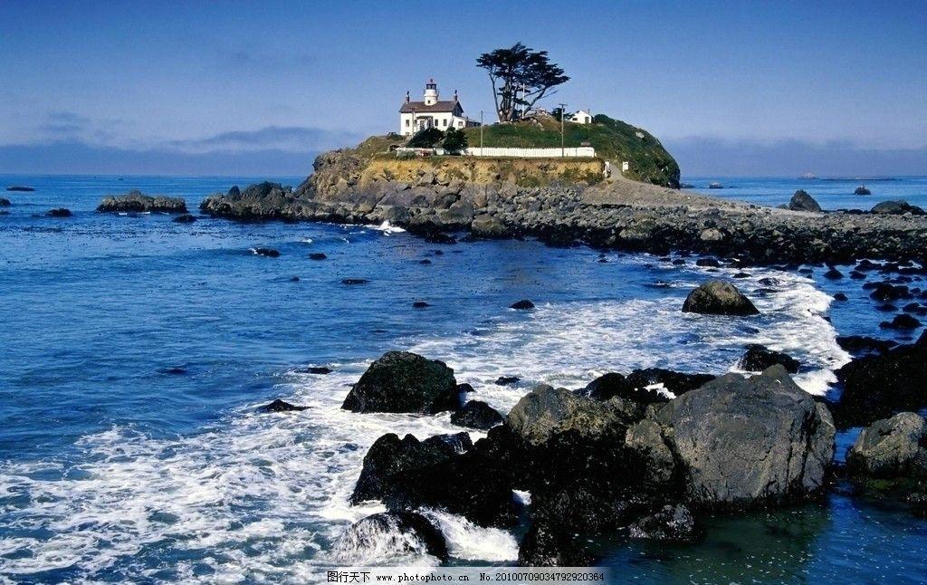 海边小的岛房子图片