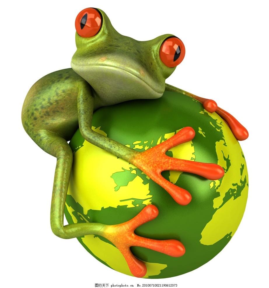 青蛙,地球 表情图片 拟人化 动物 跳跃 红爪子 红眼