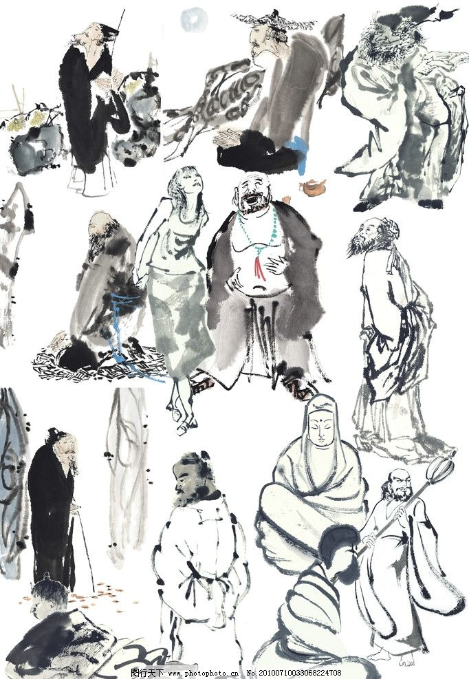 人物 psd分层素材 源文件 古版画 人物类 古简画人物 古代 传统 古典