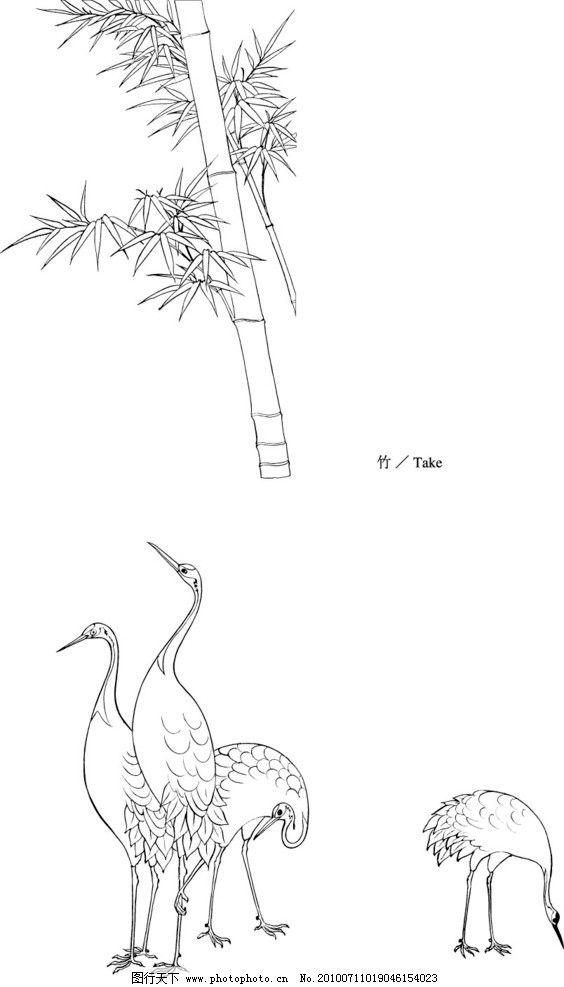 竹子与仙鹤图片_绘画书法_文化艺术_图行天下图库