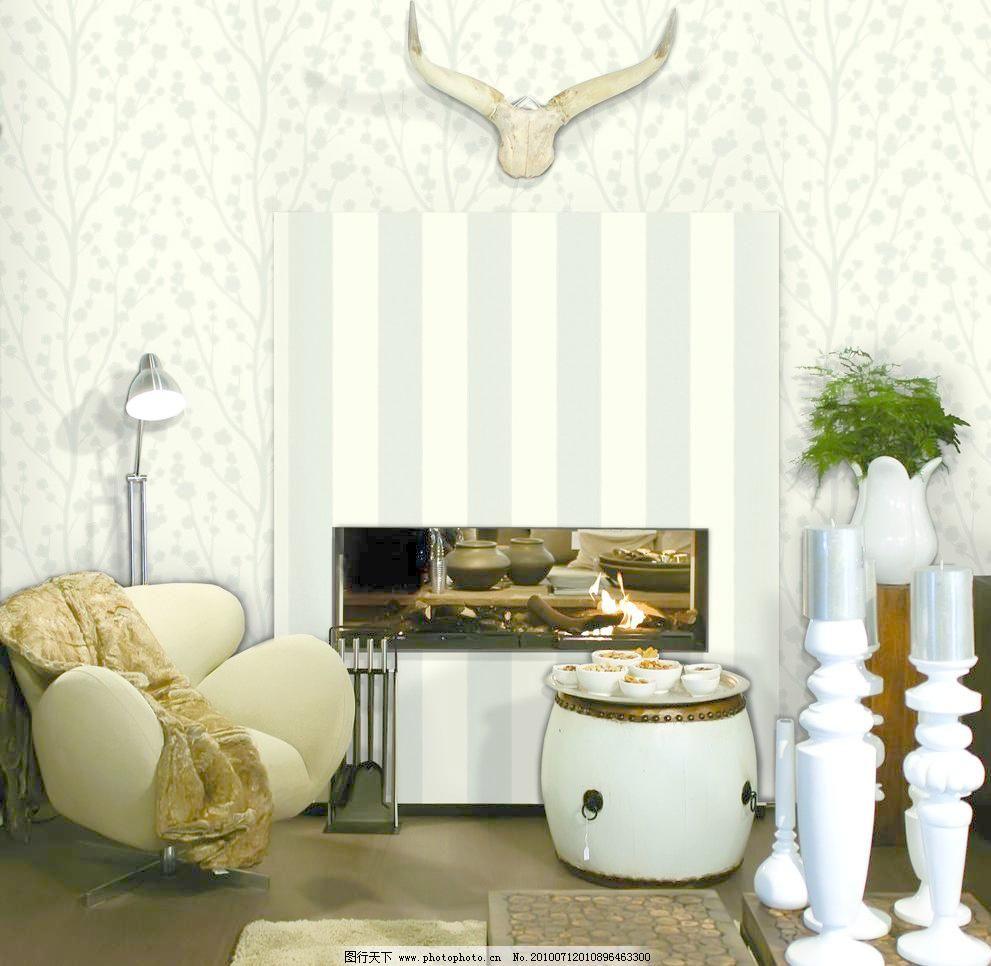 欧式壁纸 抱枕 建筑园林 经典花纹 欧式条纹 沙发 摄影 室内摄影图片