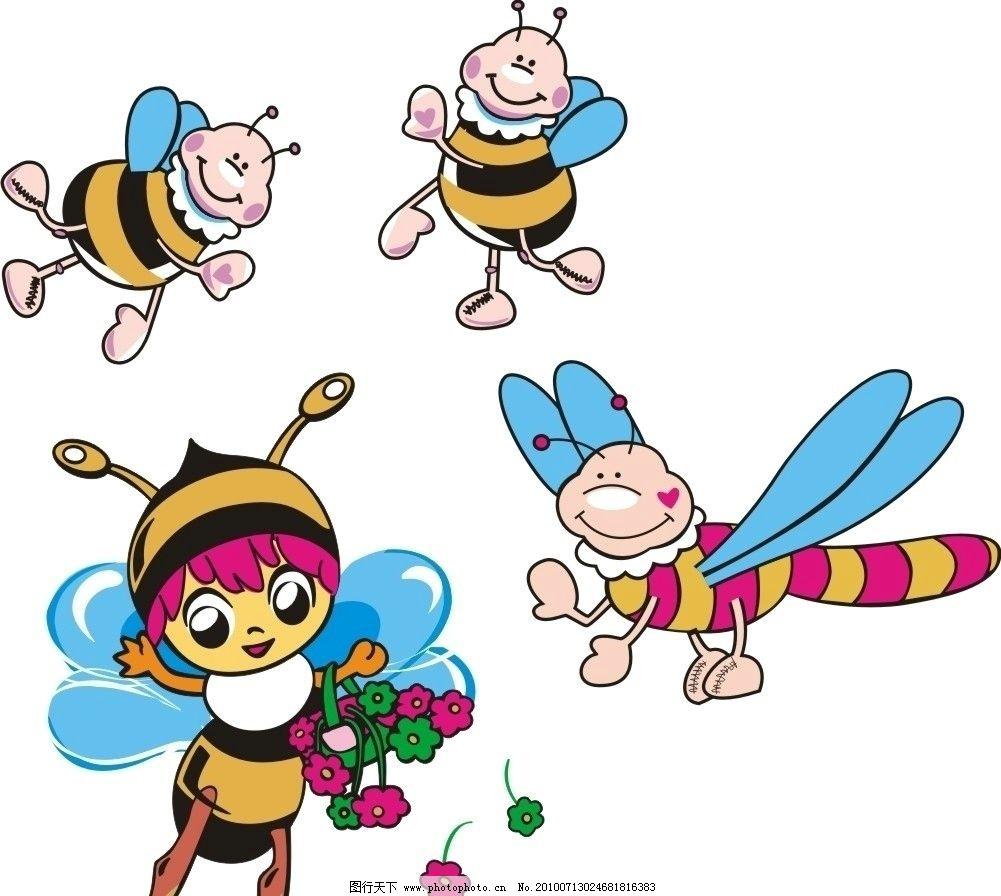 可爱蜜蜂 卡通蜜蜂 儿童服装印花 采蜜 卡通风格 鸟类 生物世界 矢量