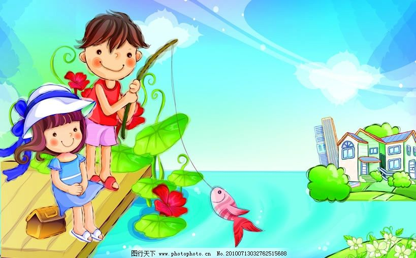 幼儿简笔画钓鱼
