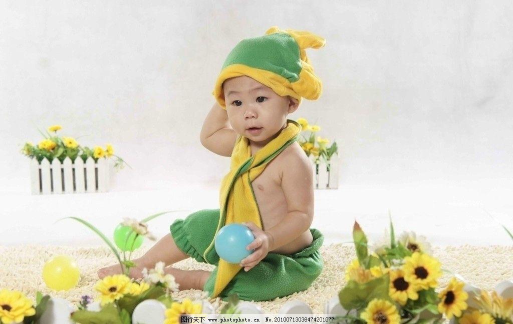 男娃娃 宝贝 乖乖 小孩子 娃娃 胖娃娃 幼儿 小胖子 帽子 花 黄色