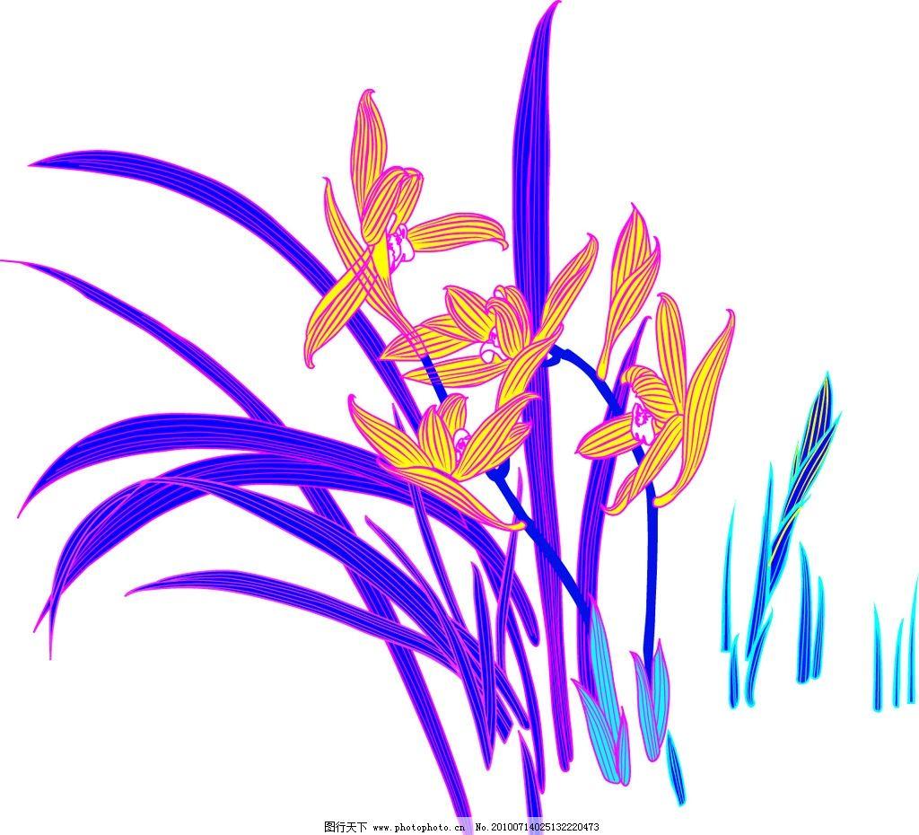 兰花手绘卡通图片