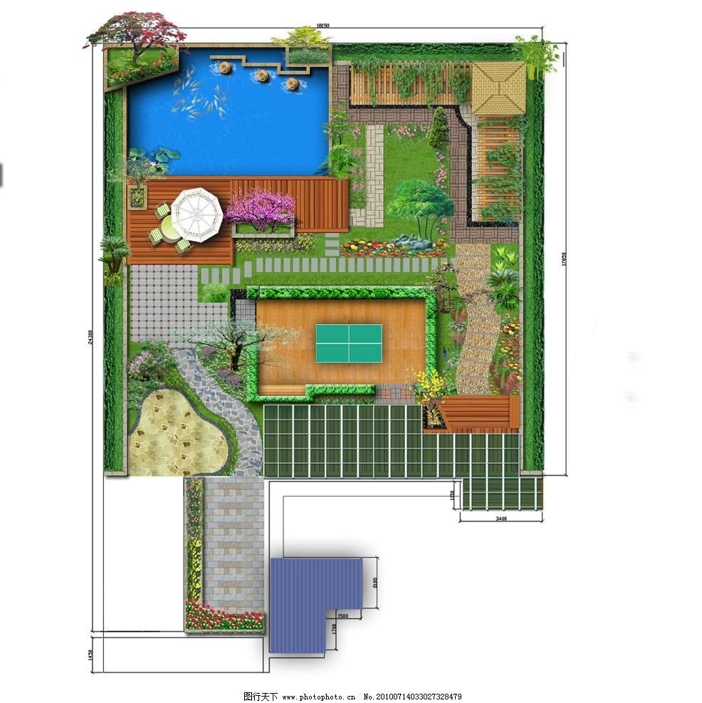 屋顶花园 花园设计 屋顶花园 庭院设计 彩平图 设计模板 psd分层素材