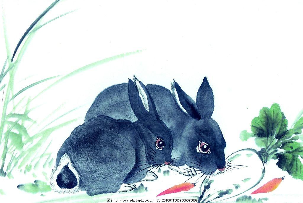 十二生肖 生肖 兔子 国画 手绘 绘画 可爱 家禽家畜 生物世界 设计