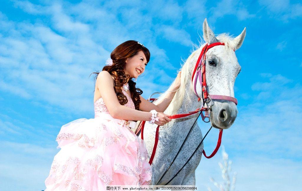 婚纱 婚纱摄影 外景 样片 影楼样片 马 白纱 新郎 新娘 白马王子 人物