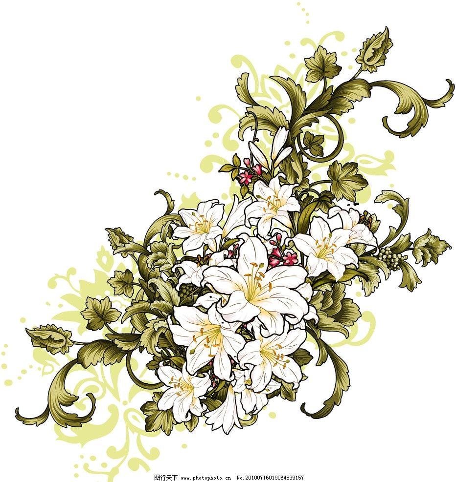 百合花 美术 绘画 国画 线描 彩色画 花卉 花纹 工艺美术 装饰画
