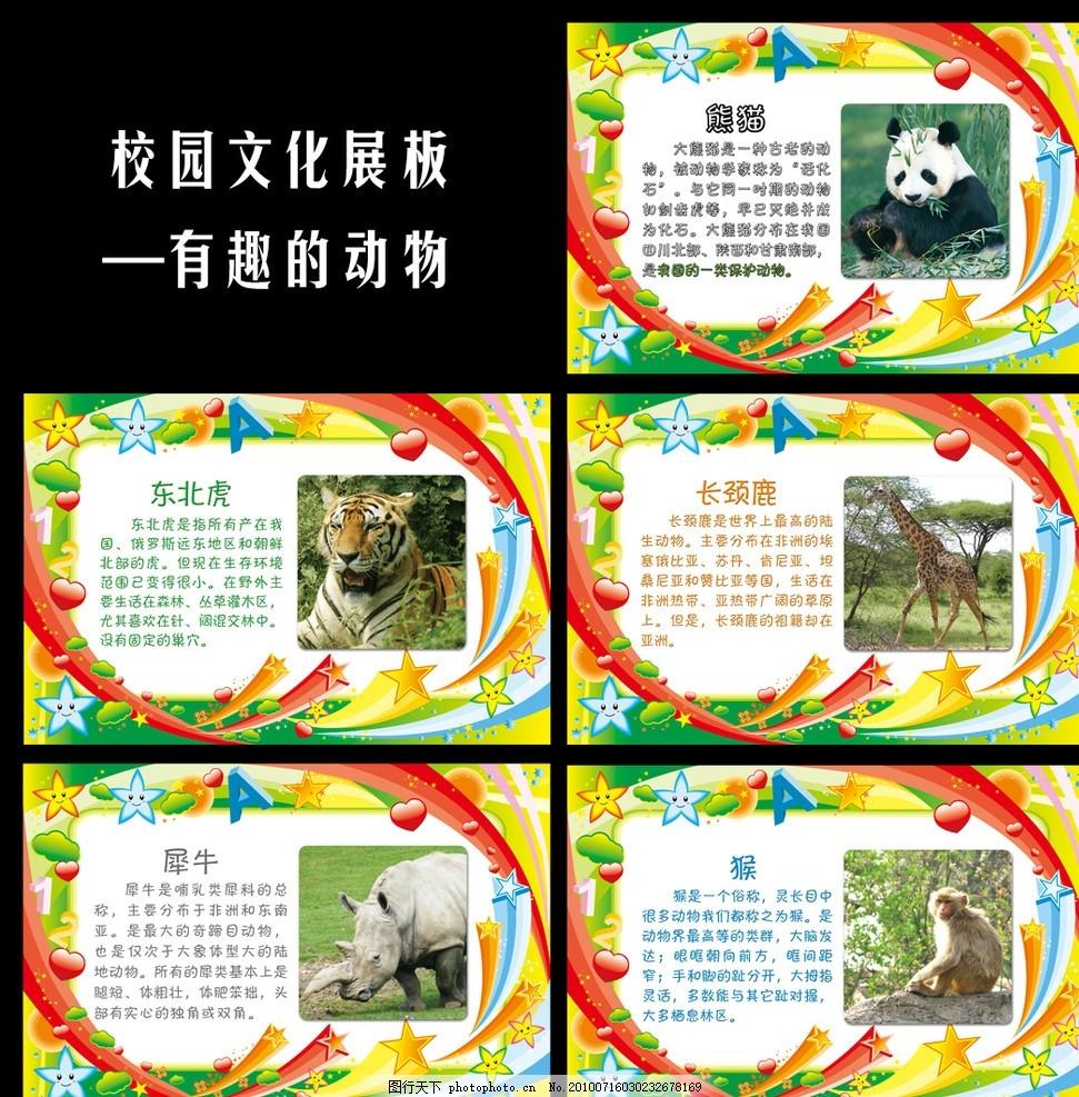 校园文化展板 有趣的动物 校园展板 熊猫 东北虎 长颈鹿 犀牛