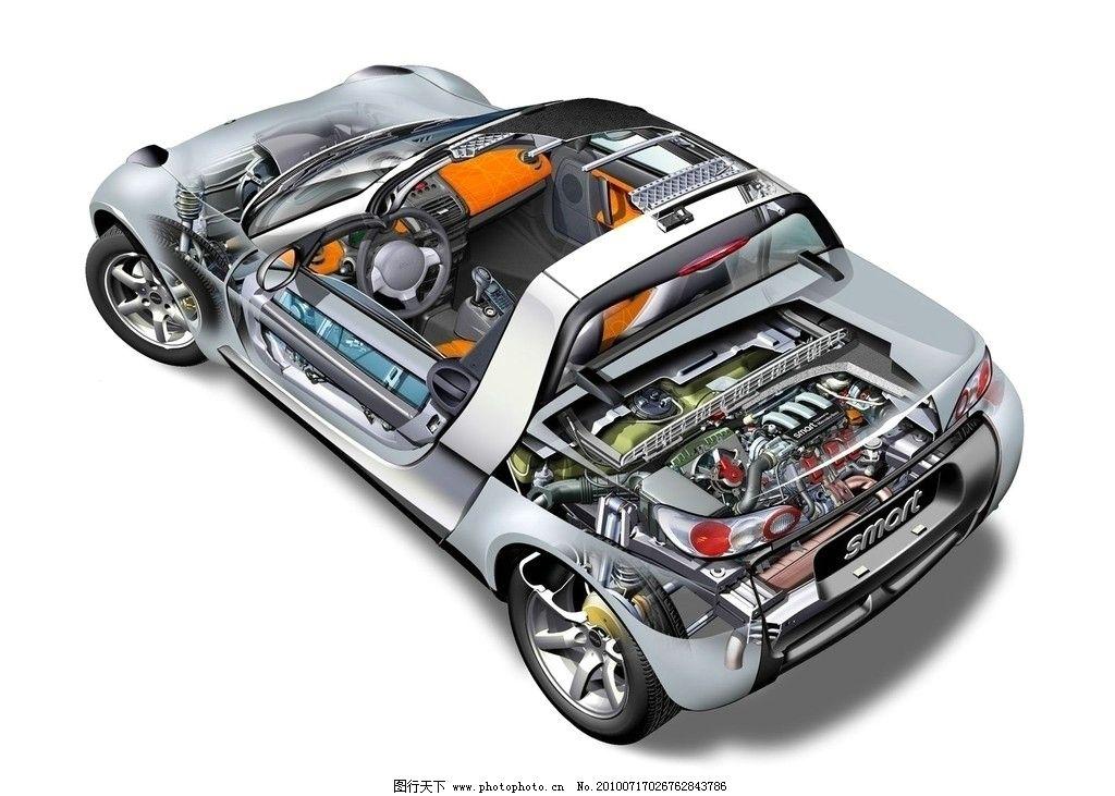 汽车透视图片,小汽车 轿车 结构 零件 部件 工业-图行