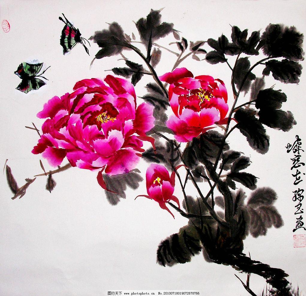 水墨画 花卉画 工笔画 现代国画 花卉 牡丹花 红牡丹 叶子 蝴蝶 蝶舞