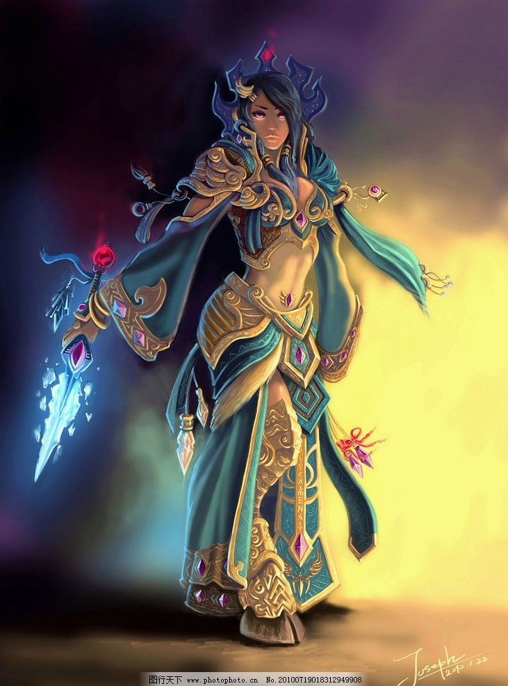 女孩 美女 埃及 武器 手绘 梦幻 盔甲 传说 cg炫彩插画集 动漫人物