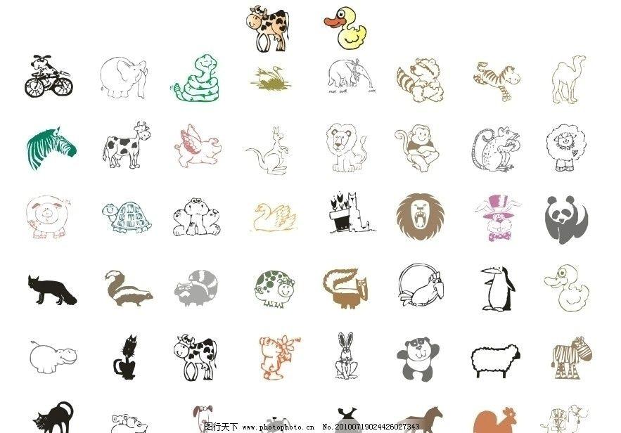 50种单色卡通动物矢量图图片