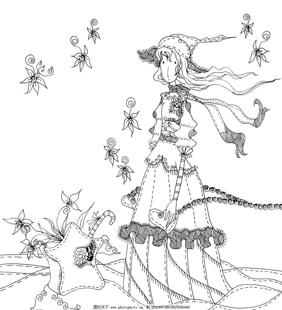 绘图插画 动漫人物稿线 黑白插画 漫画 线稿 手绘 恋人 牵手 原创