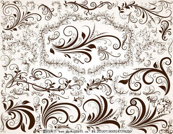 欧式花纹矢量素材 欧式花纹矢量素材免费下载 布 布纹 叶子 枝叶