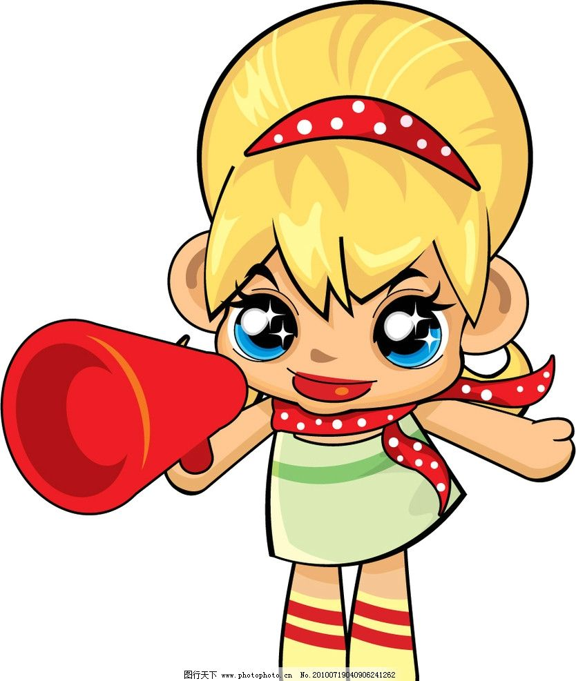娃娃 喇叭 女孩 加油 矢量人物 矢量图 卡通 可爱 儿童幼儿 矢量 ai