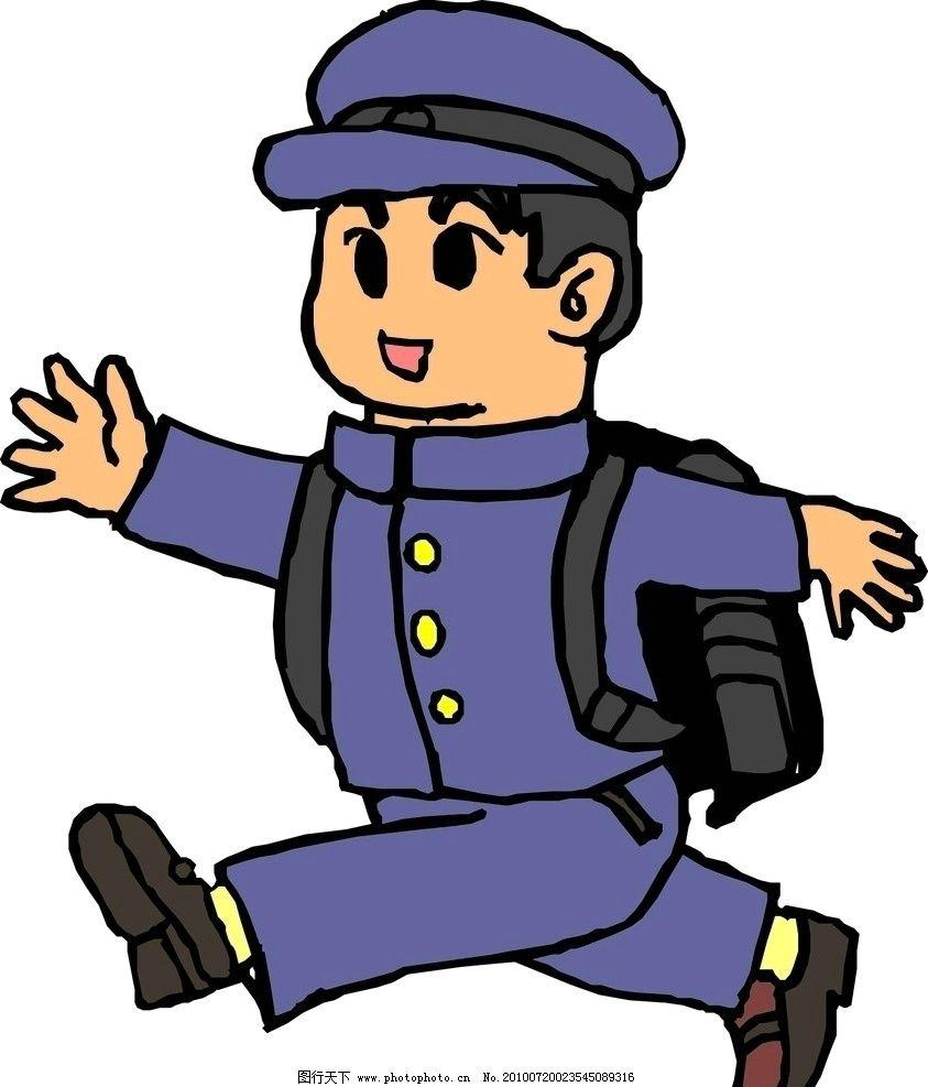 上学路上的卡通小男孩 上学 书包 校服 男孩 学生 儿童幼儿 矢量人物