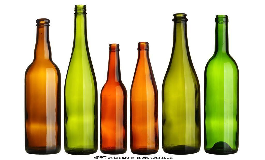 玻璃酒瓶 背景 打开 红色 空 绿色 啤酒 玻璃酒瓶图片素材下载