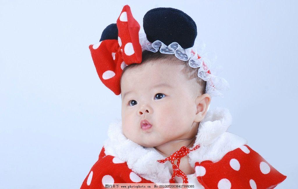 米奇公主 小公主 蝴蝶结 红色小披风 大耳朵 可爱 百天照 儿童写真