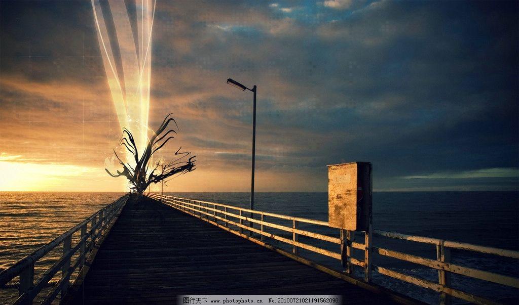 ps光与影 光影 效果 美丽 设计感 海报 风景 海景 光芒 天气